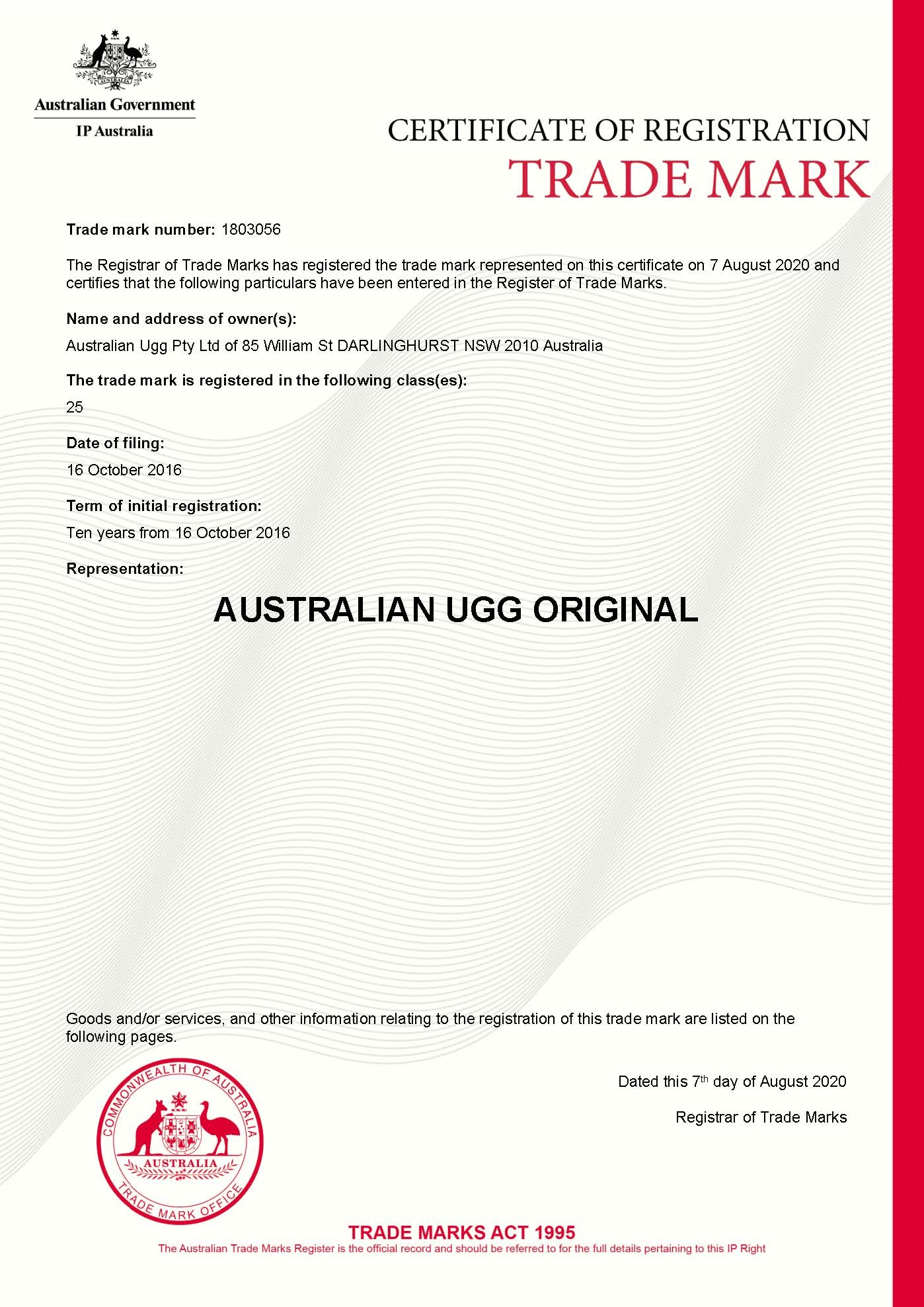 AUSTRALIAN UGG ORIGINAL Trade Mark Certificate 1803056