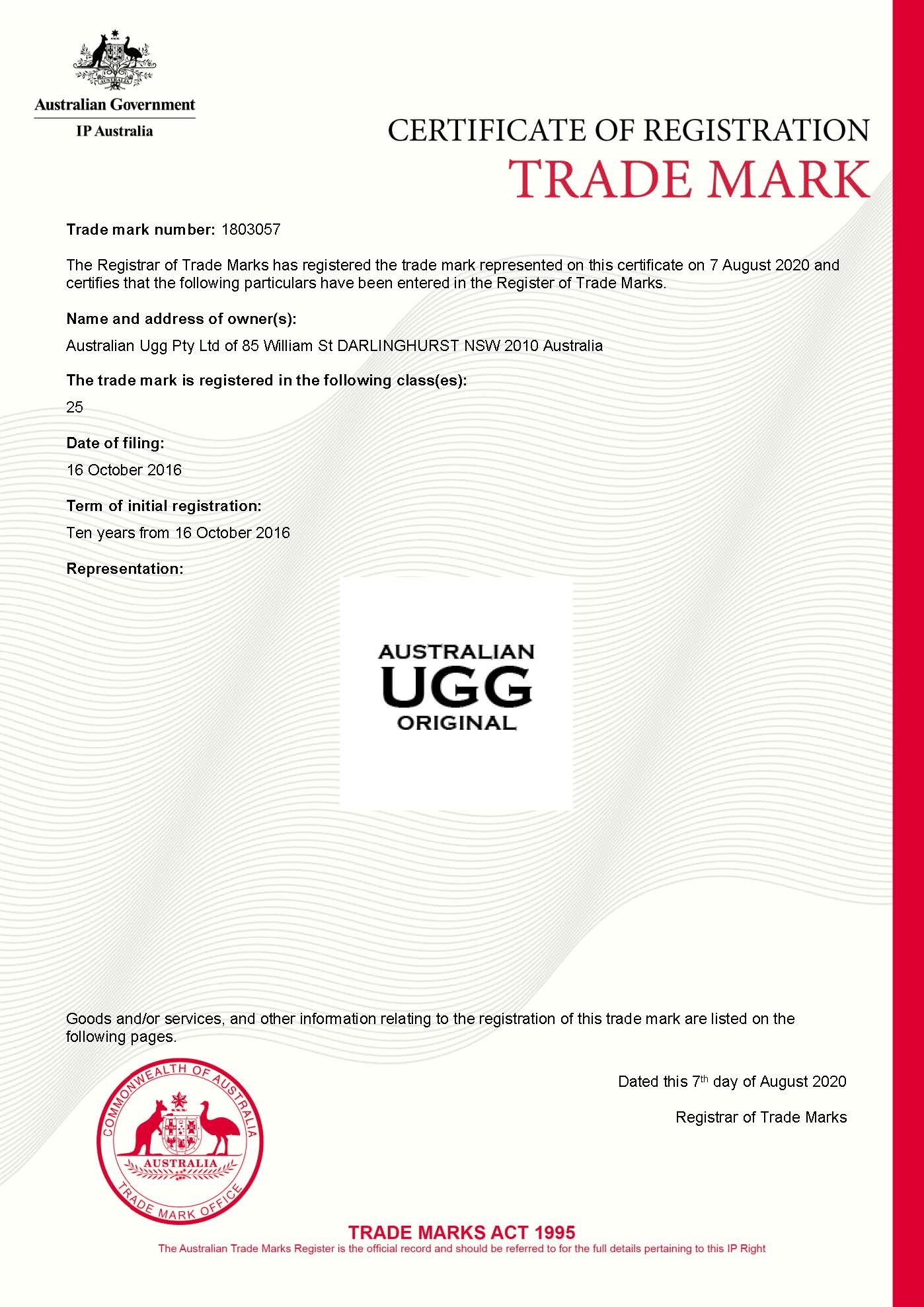 AUSTRALIAN UGG ORIGINAL Trade Mark Certificate 1803057